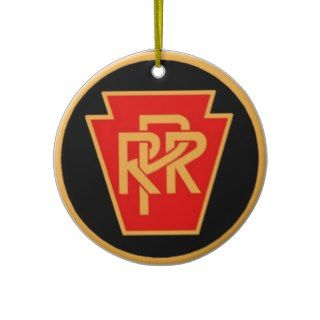 Pennsylvania Railroad Logo, Black & Gold Christmas Ornaments