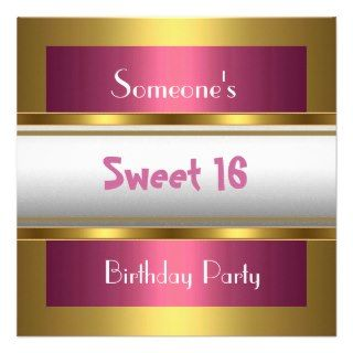 Invitation Sweet 16 Birthday Party Pink white Gold