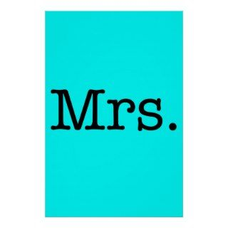 Neon Blue and Black Mrs. Wedding Anniversary Quote Poster