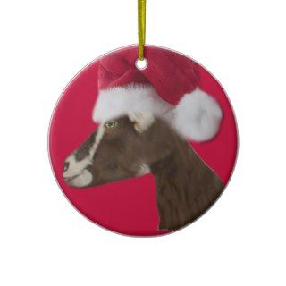 Alpine Goat Santa Hat Christmas Ornament