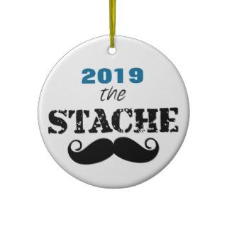 The Stache Mustache Retro Hipster Christmas Ornament