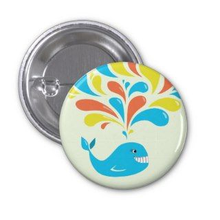 Bright Colorful Splash Happy Cartoon Whale Pinback Buttons