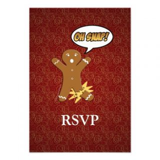 Oh Snap! Funny Gingerbread Man Custom Invites