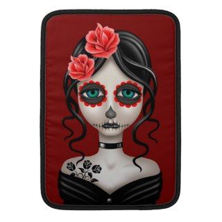 Sad Day of the Dead Girl on Red Sleeves For MacBook Air