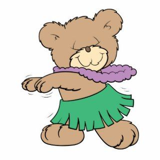 hula hawaiian vacation cute teddy bear design photo cut out