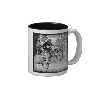 Dirt bike wheeling in the woods mug