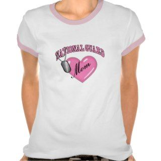 National Guard Mom Heart N Dog Tag Tee Shirts