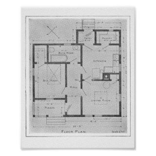 Vintage House Floor Plan Poster