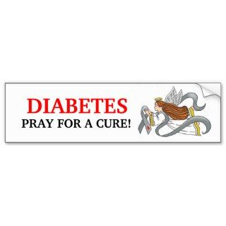 Gray Diabetes Ribbon Awareness Angel Bumper Sticker