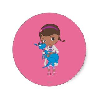 Doc McStuffins Holding Stuffy Round Stickers