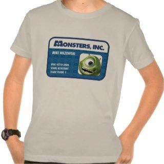 Monsters Inc. Mike Wazowski employee ID card Tees