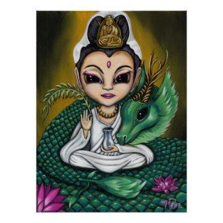 Quan Yin and Her Dragon art POSTER