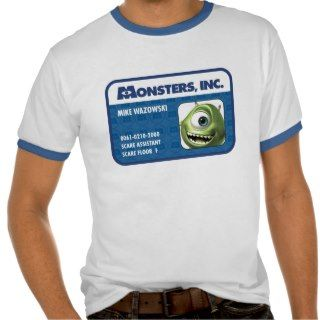 Monsters Inc. Mike Wazowski employee ID card Shirts