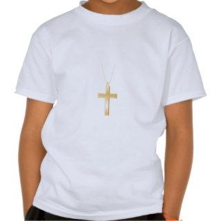 Gold cross and chain, looks like real jewelry. t shirts