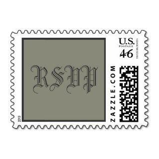 Old English Font Formal Sage RSVP Stamps