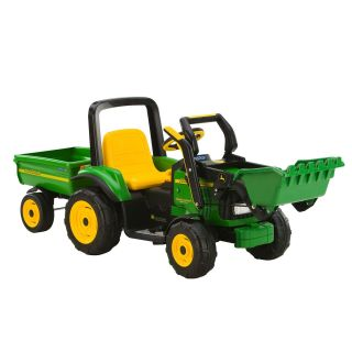 Battery Powered John Deere Loader with Trailer   Battery Powered