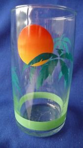 4 Palm Trees Anchor Hocking Tumblers Glasses Drinking