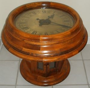 Vintage Antique Seisekowa Coffee End Table Gallery Clock Round Oak Wood Large