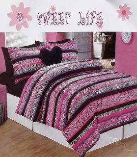 Animal Print Pink Black Stripe Full Comforter Shams Pillow 4pc Bedding Set New
