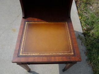 Vintage Antique Mahogany Leather Top Stepped End Side Table Italian