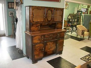 Antique Hoosier Cabinet Hollywood Regency Cork Top China