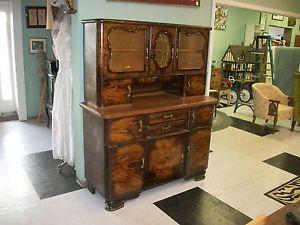 Antique Hoosier Cabinet Hollywood Regency Cork Top China
