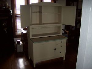 Antique Hoosier Cabinet Porcelain Sliding Top 1938 Vintage Sea Crest Green