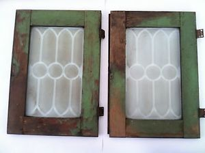 2 Vintage Antique Hoosier Cabinet Oak Framed Etched Glass Doors