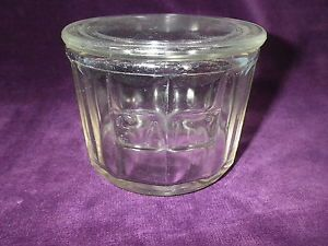 Antique Hoosier Cabinet Salt Paneled Spice Glass Jar with Glass Lid