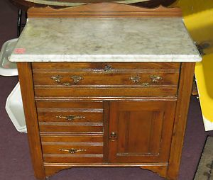 Antique Marble Top Wash Stand Victorian Oak Cabinet Dovetailed Dresser Drawer