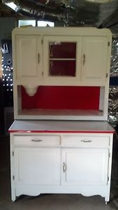 White Hoosier Style Cabinet with Red Trim Made by Marsh Furniture Company