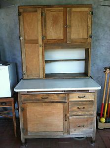 Antique Hoosier Cabinet Natural Wood with Flour Dispenser in San Diego