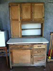Antique Hoosier Cabinet Natural Wood with Flour Dispenser in San Diego