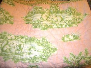 Baby Girls Pottery Barn Kids 4 Piece Nursery Bedding Set Pink Green