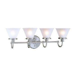 Hampton Bay 512790 Brushed Nickel 4 Light Wall Mount Bathroom Vanity Fixture