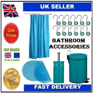 5 PC Teal Bathroom Accessories Bin Toilet Brush Holder Curtain Hooks Bath Mat