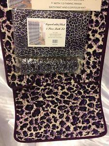 4 PC Bathroom Rug Set Animal Print Leopard Black Purple Shower Curtain 12 Rings