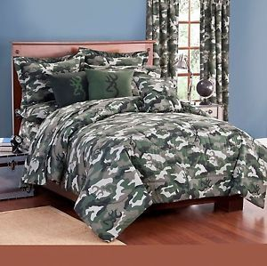 Queen Size 7 PC Browning Buckmark Camo Green Comforter Set Camo Bed in A Bag