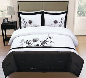 4pc Faux Silk White Black Embroidery Comforter Set Queen Size Eden Bed in A Bag