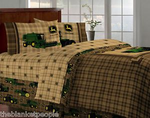 New John Deere Tractor Plaid Full 6pc Bedding Set