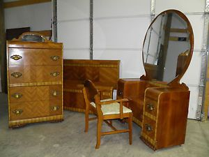 Art Deco Waterfall Bedroom Set Bed Vanity w Chair Chest of Drawers