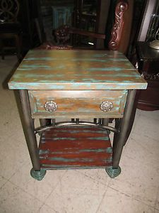 Shadow Mountain Aqua Teal Blue Rustic Bedside Table Chest Nightstand
