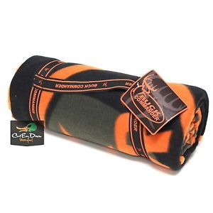 "Buck Commander Dynasty Fleece Throw Blanket Black and Orange Logo 50"" x 60"" Duck"