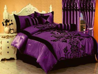7 PC New Black Comforter Set Flocking Satin Brown Burgundy Blue Suede