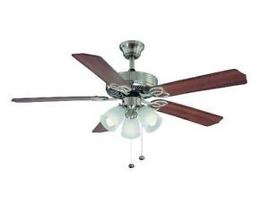 Hampton Bay Brookhurst 52 inch Ceiling Fan with Light Kit Brushed Nickel