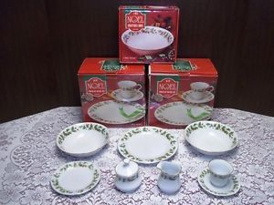 China Pearl Noel Christmas Dinnerware Dishes Set Service for 8 Holly Gold Trim