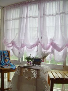 French Country Floral Pink Balloon Shade Austrian Cafe Kitchen Window Curtain