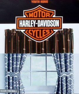 Harley Davidson Flame Rider Fireball Valance Curtain Drapes Window Treatment New