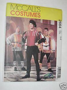 New McCalls Sew Pattern 2664 Costume Kids Medieval Doublet Hood