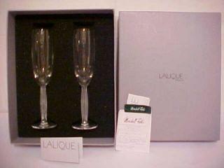 Exquisite Lalique Crystal Champagne Flutes Diamond Stemware 2 Orig Box Mint